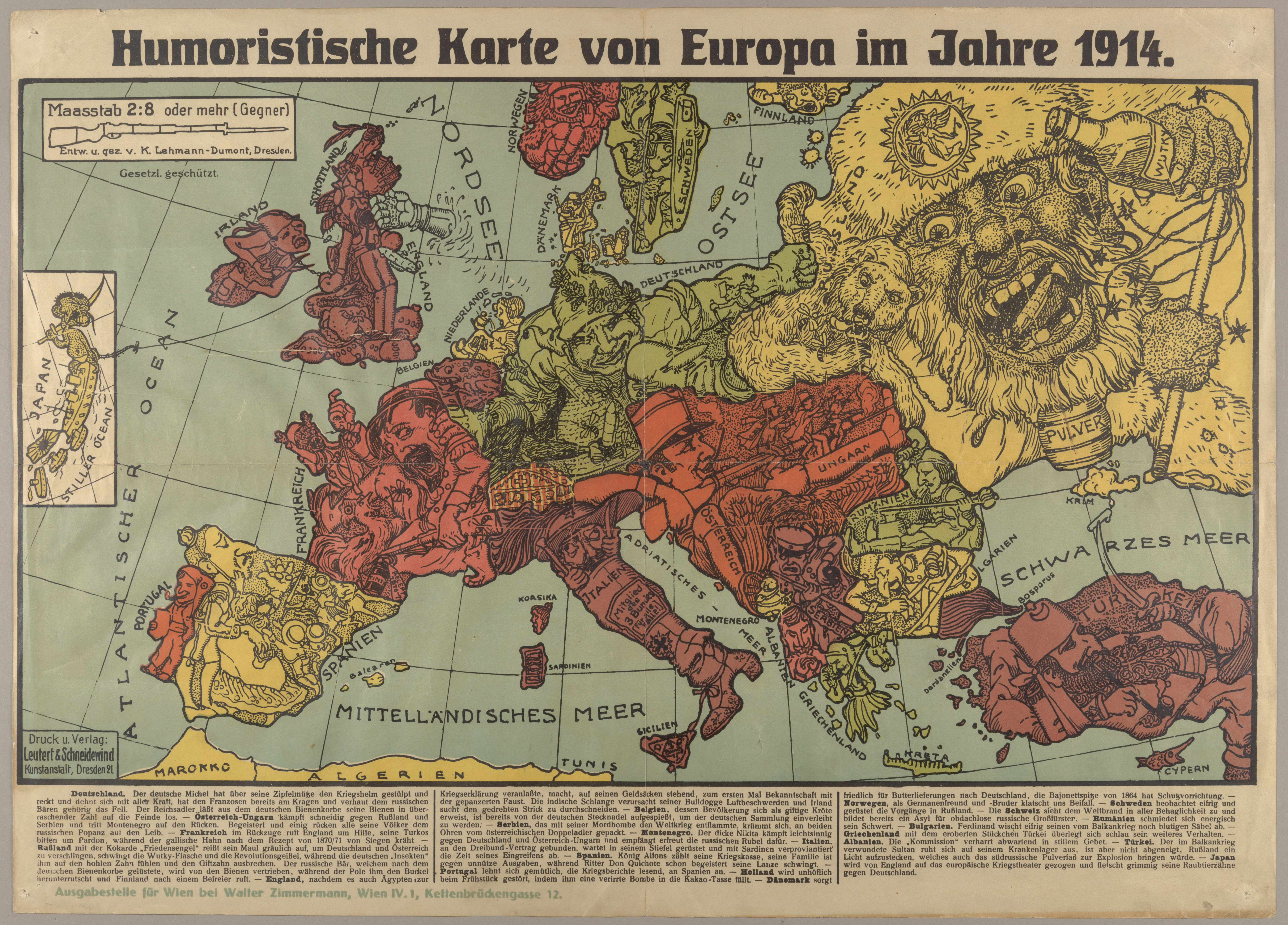 File Humoristische Karte Von Europa Im Jahre 1914 Jpg Wikimedia