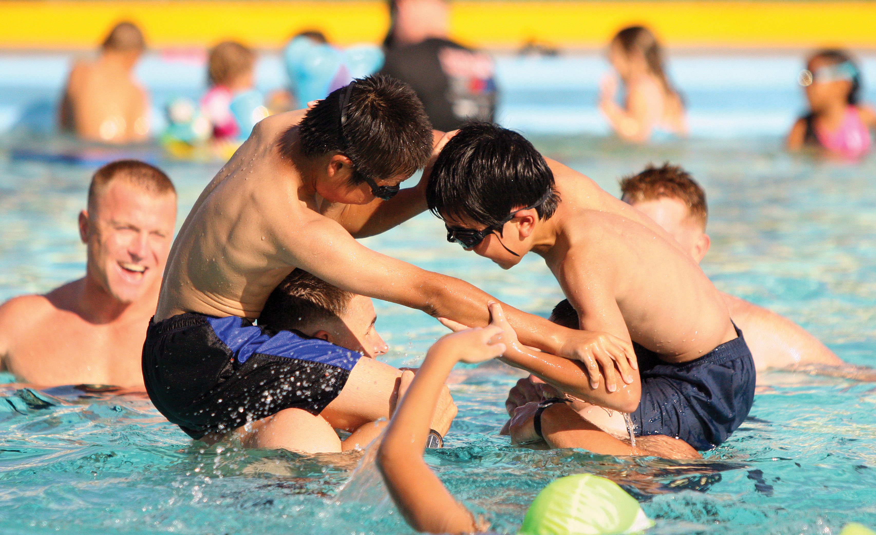 file japanese children play water games with u s marines