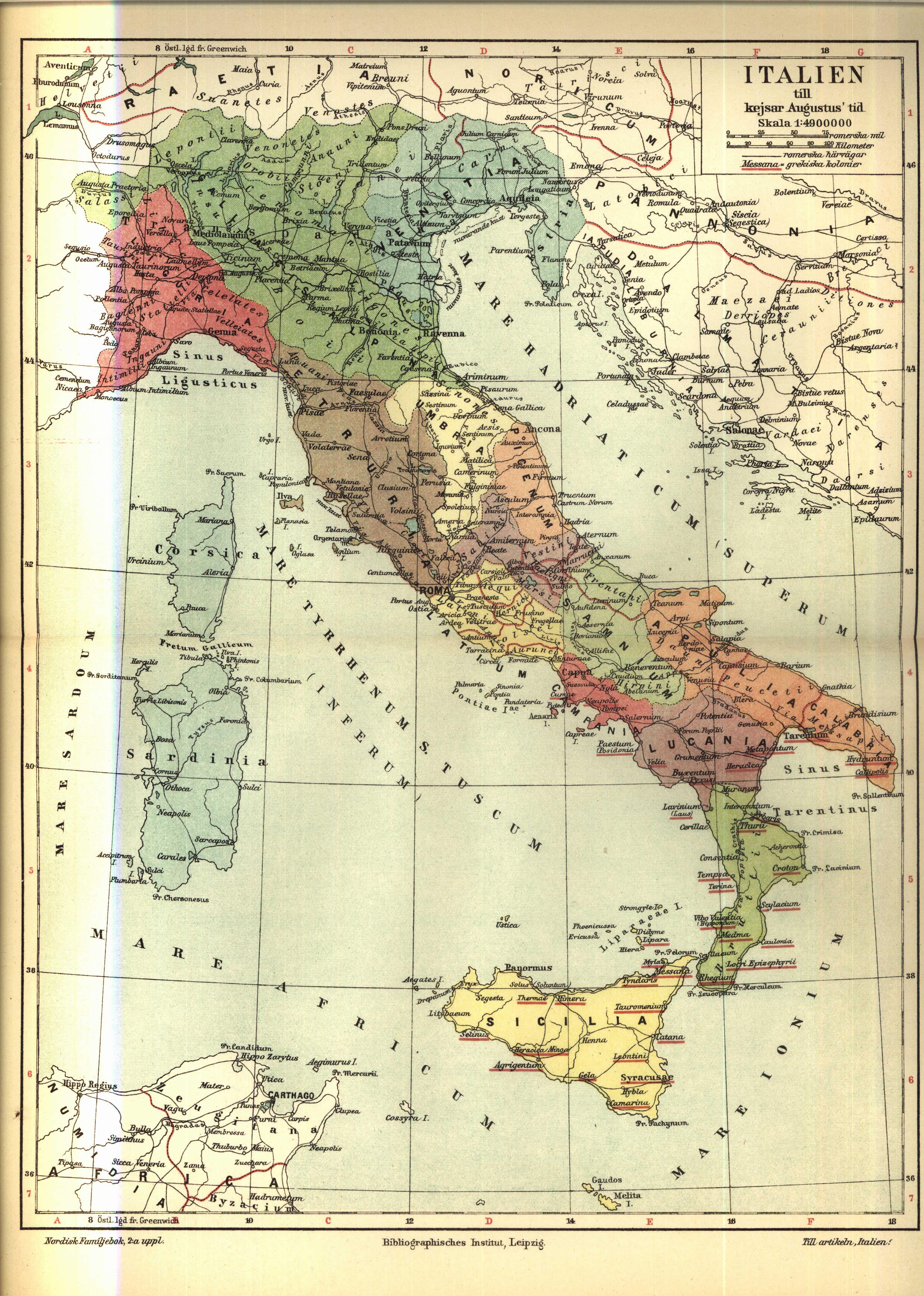 karta se italien File:Karta över Italien till kejsar Augustus tid, Nordisk  karta se italien