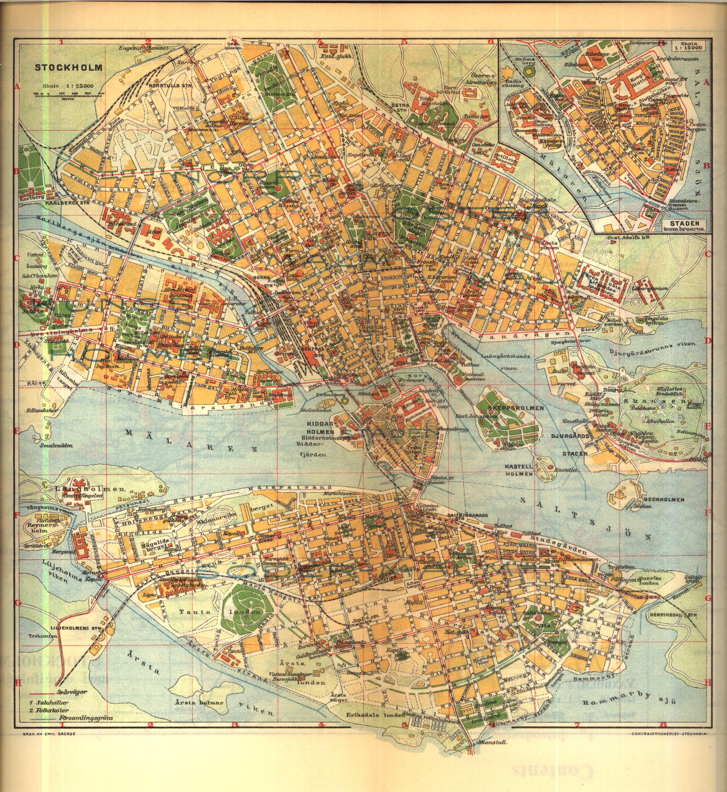 File Karta Over Centrala Stockholm Pa 1910 Talet Ur Nordisk