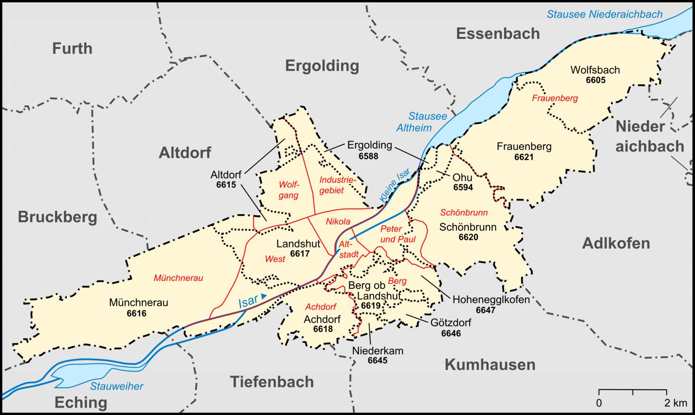 Karte Landshut mit Gemarkungen und Stadtteilen und Nachbargemeinden.png