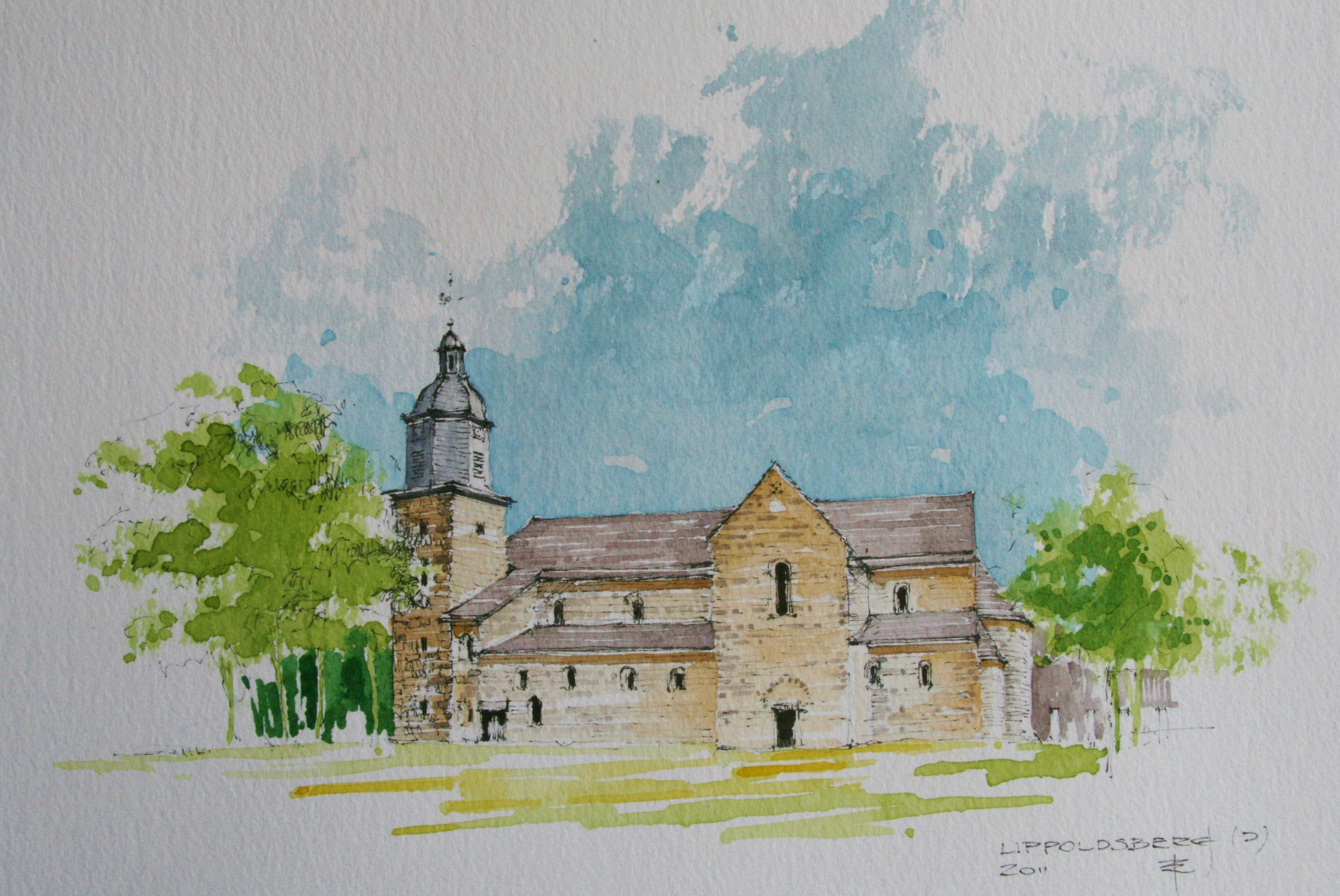 fileklosterkirche lippoldsberg  aquarell  wikimedia