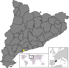 Location of Tarragona in Catalonia的位置