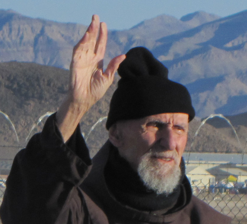 Vitale demonstrating against weaponized drones just before being arrested at Creech Air Force Base, Nevada {{circa 2010 to 2012}}