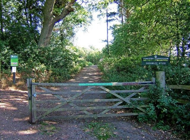 Main entrance to Shrawley Wood - geograph.org.uk - 1484798