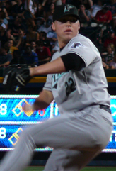 Lindstrom pitching for the Florida Marlins in June 2007