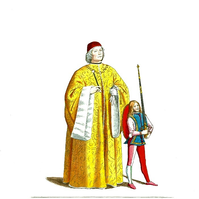 FileMedieval Man In Robe With Page Or SquireJPG