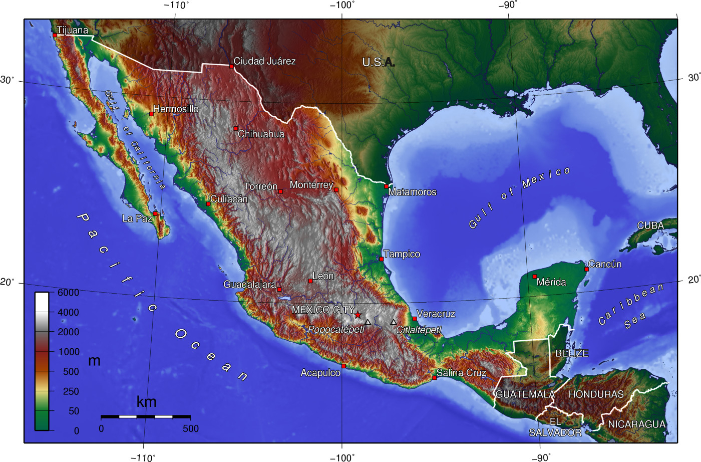 topographic map of mexico