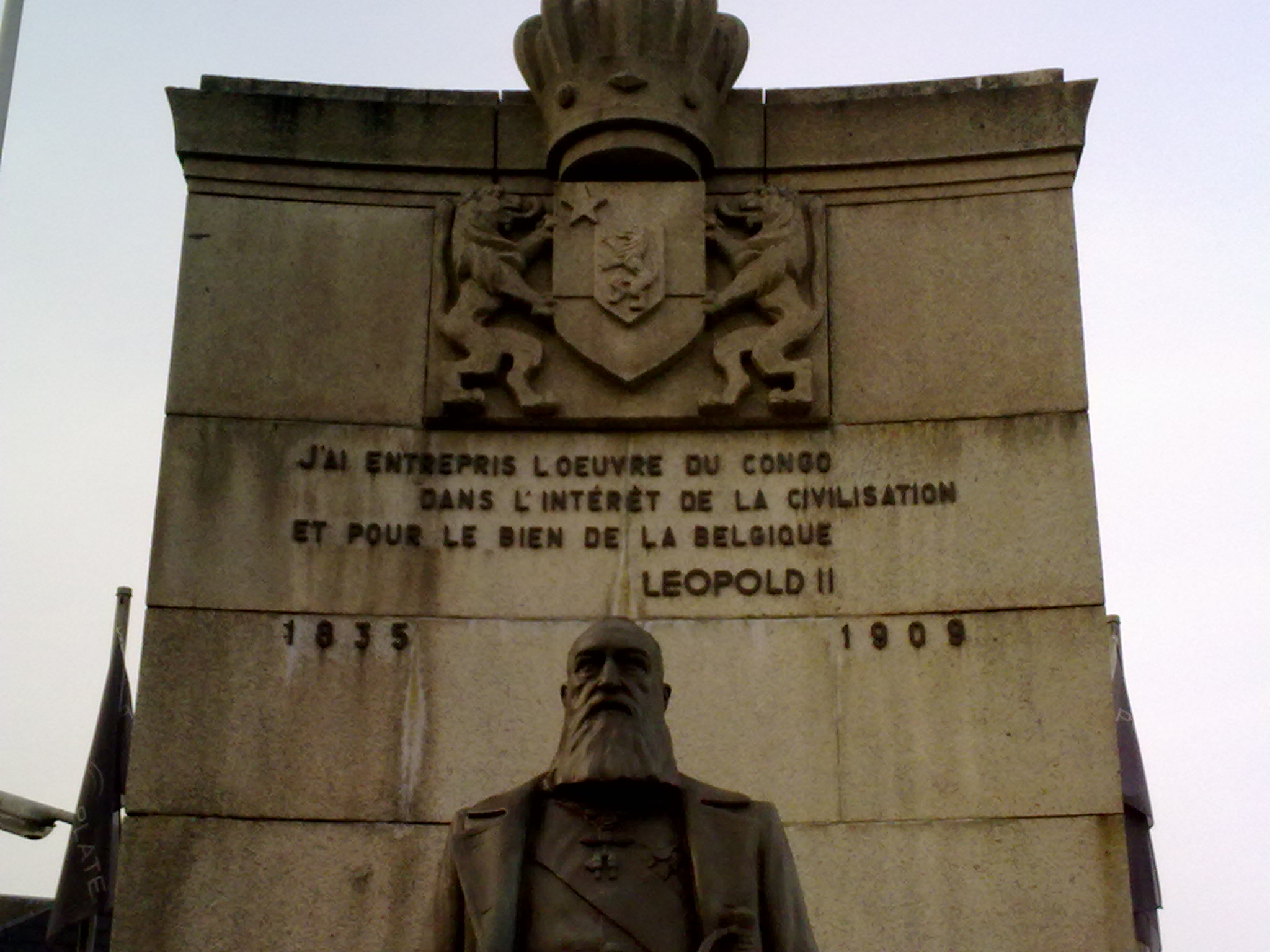 "Monument in Arlon (Belgium). ""I have undertaken the work in the Congo in the interest of civilization and for the good of Belgium."""