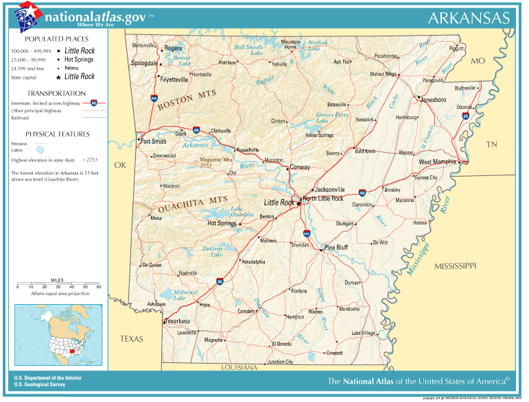 Geography Of Arkansas Wikipedia - Us map with geographical features