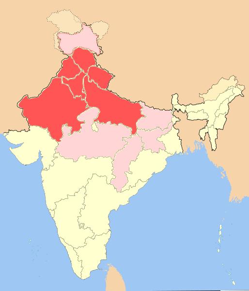 Северная Индия на карте