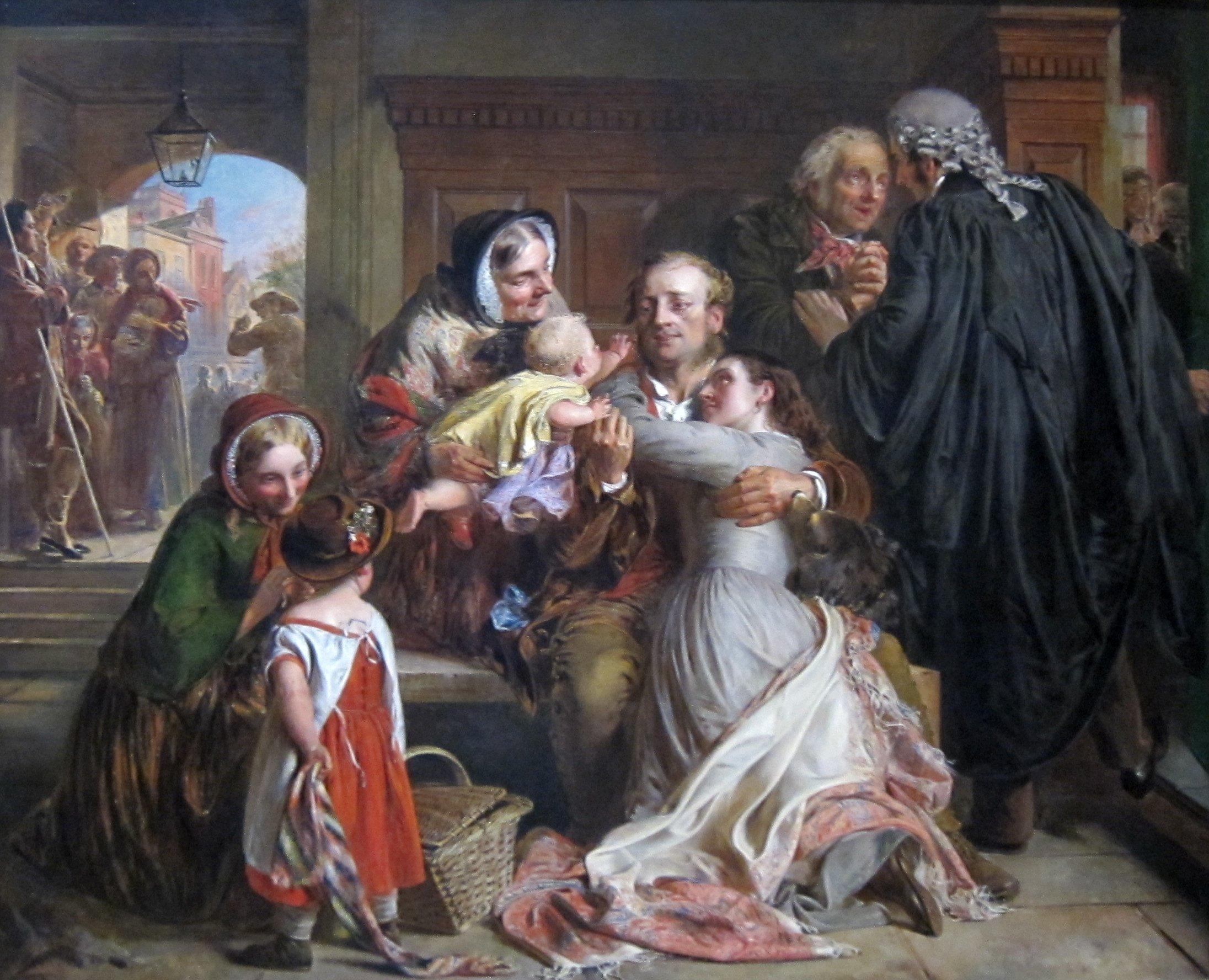 Legal drama in artworks: Abraham Solomon, Not Guilty,
