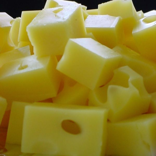 cubes of cheese, possibly Swiss