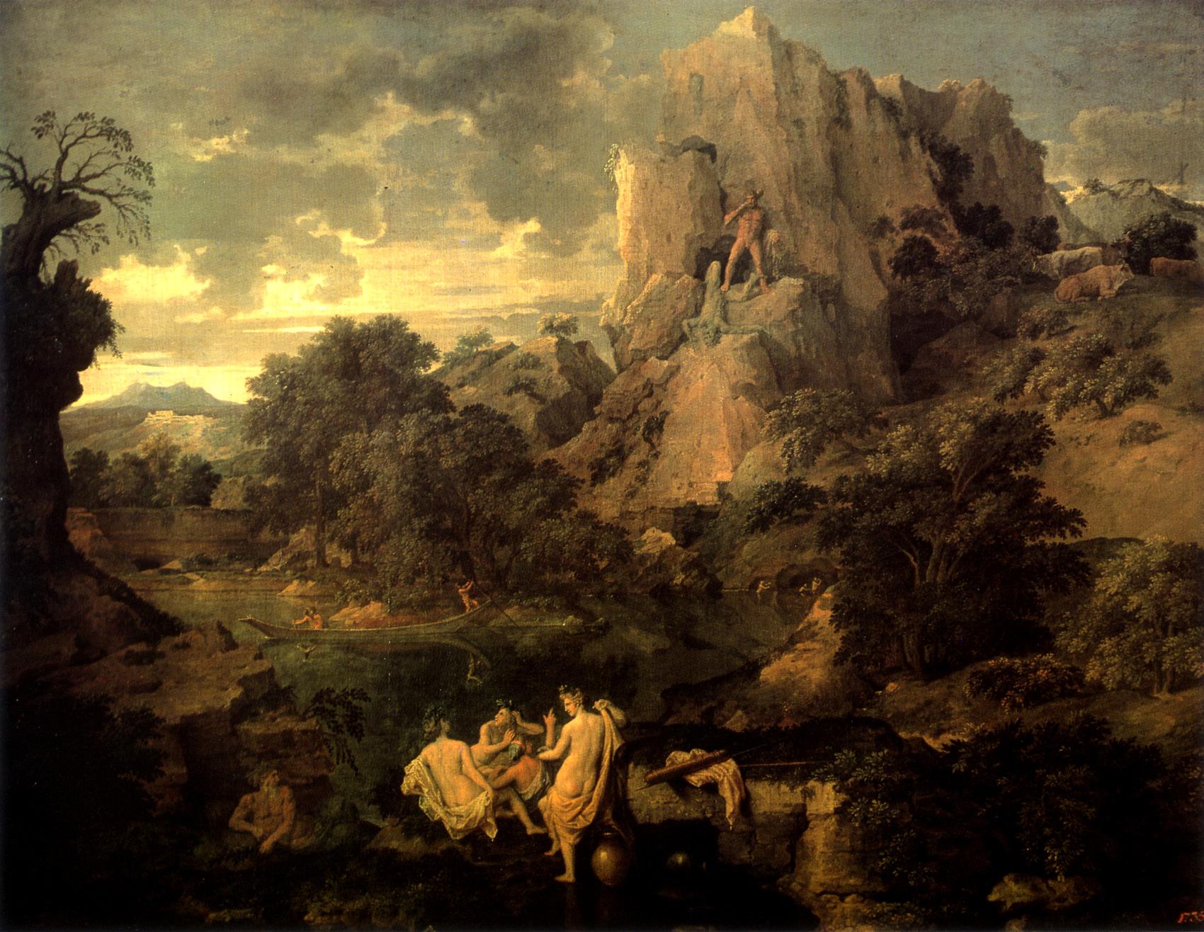 Пейзаж с путешественники отдыха по nicolas poussin (1594-1665, france)