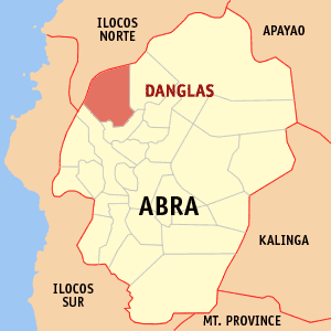 Mapa na Abra ya nanengneng so location na Danglas