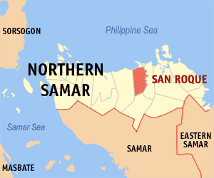 Map of Northern Samar showing the location of San Roque