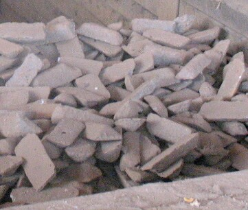 Pig iron of a type used to make ductile iron, stored in a bin Pig iron.jpg