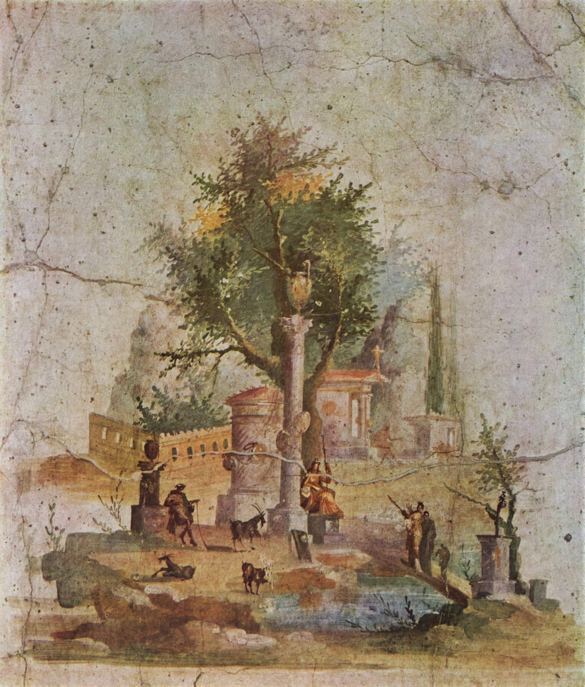 Some landscapes a delightful style of decorating walls for Ancient roman mural