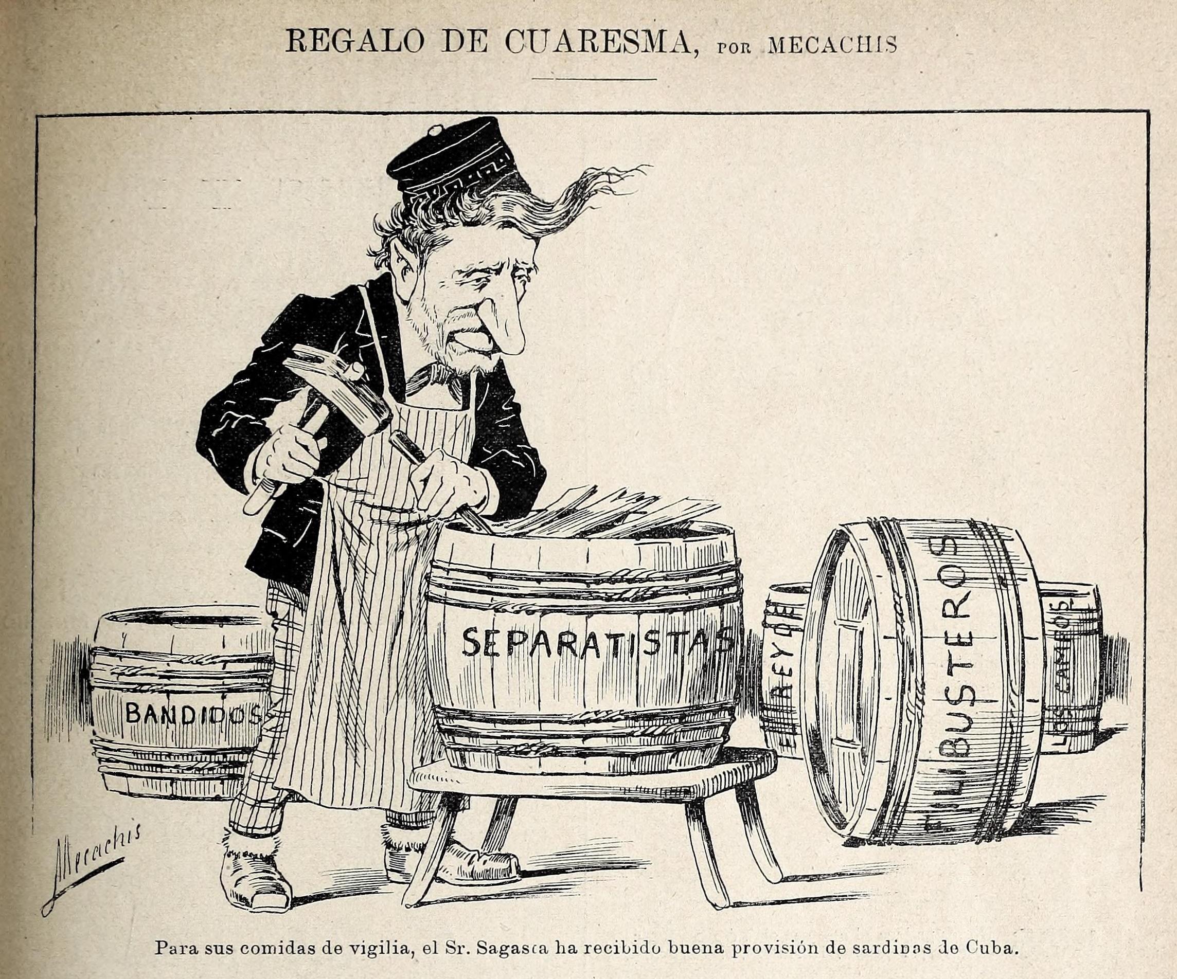 """Regalo de Cuaresma, por Mecachis.jpg Español: Regalo de Cuaresma Date 9 March 1895 Source Mecachis (1895-03-09). """"Regalo de Cuaresma"""". Blanco"""