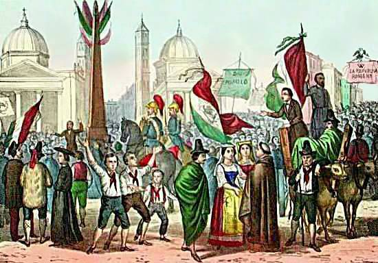 Rossetti - Proclamation of the Roman Republic, nel 1849, in Piazza del Popolo - 1861