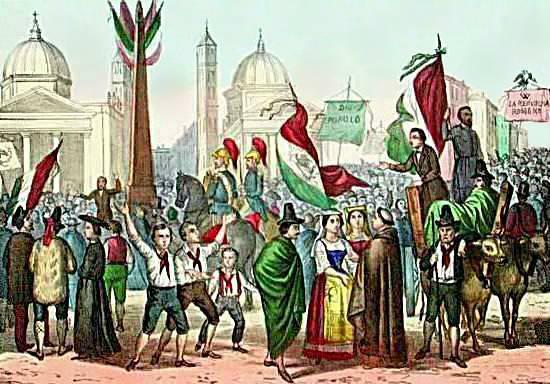 Comemoração da Unificação Italiana – povo nas ruas