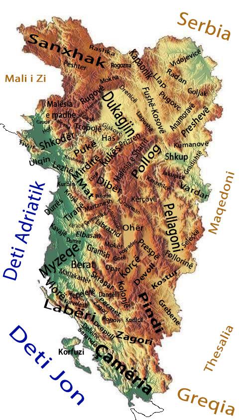 Shqiperia etnike dhe krahinat e saj