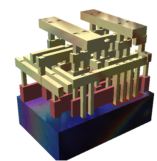 Rendering of a small standard cell with three metal layers (dielectric has been removed). The sand-colored structures are metal interconnect, with the vertical pillars being contacts, typically plugs of tungsten. The reddish structures are polysilicon gates, and the solid at the bottom is the crystalline silicon bulk.