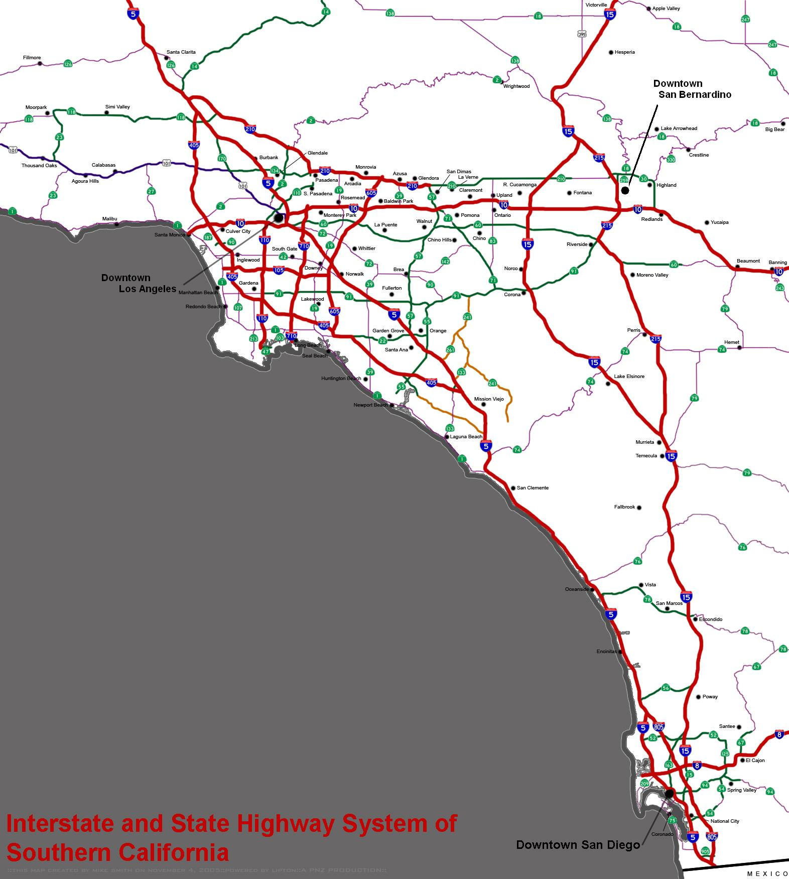 Southern California freeways - Wikipedia on cal train map, cal zip code map, cal freeway map, northern cal map, cal fire map, cal coast map, cal city map, cal map highways, cal county map,