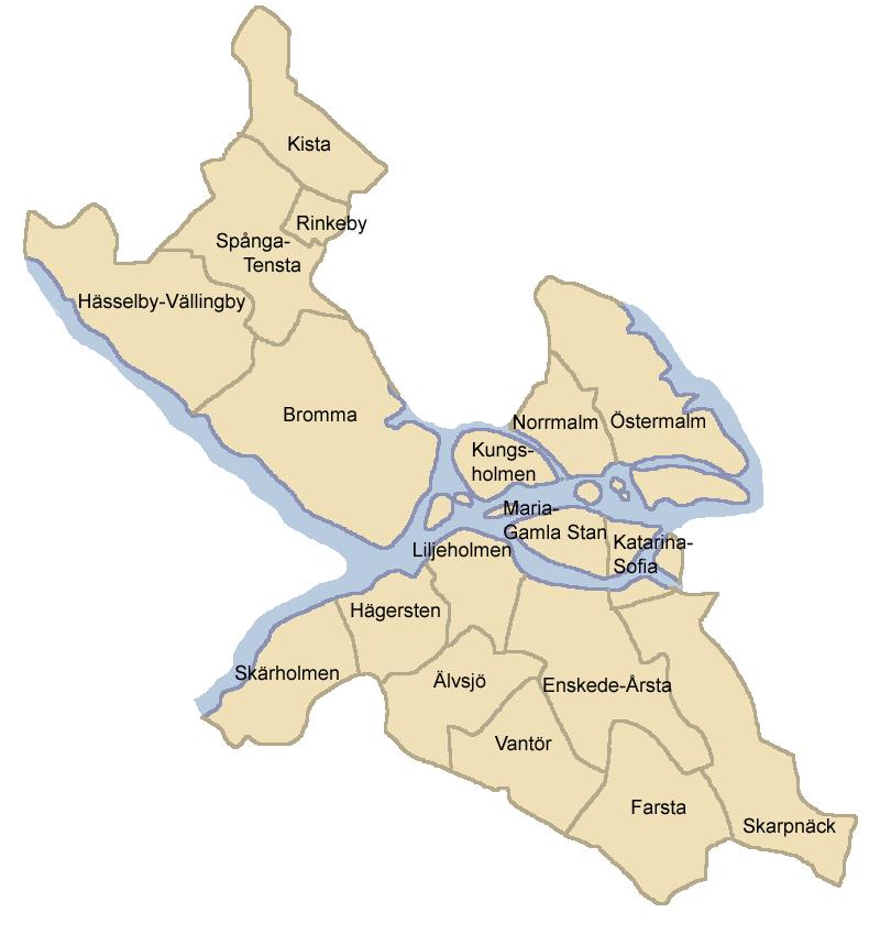 stockholm karta stadsdelar