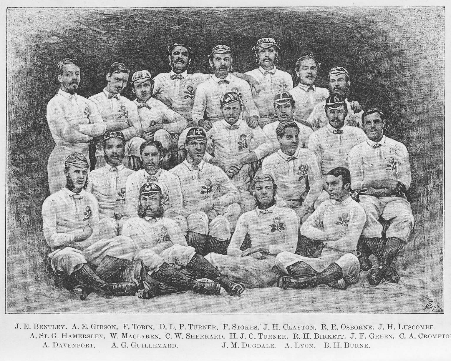 The First England Team, 1871, in the 1st international, vs Scotland in Edinburgh, Scotland won by 1 goal & 1 try to 1 try