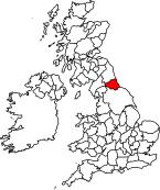 Location of Durham, UK, pre-1974.