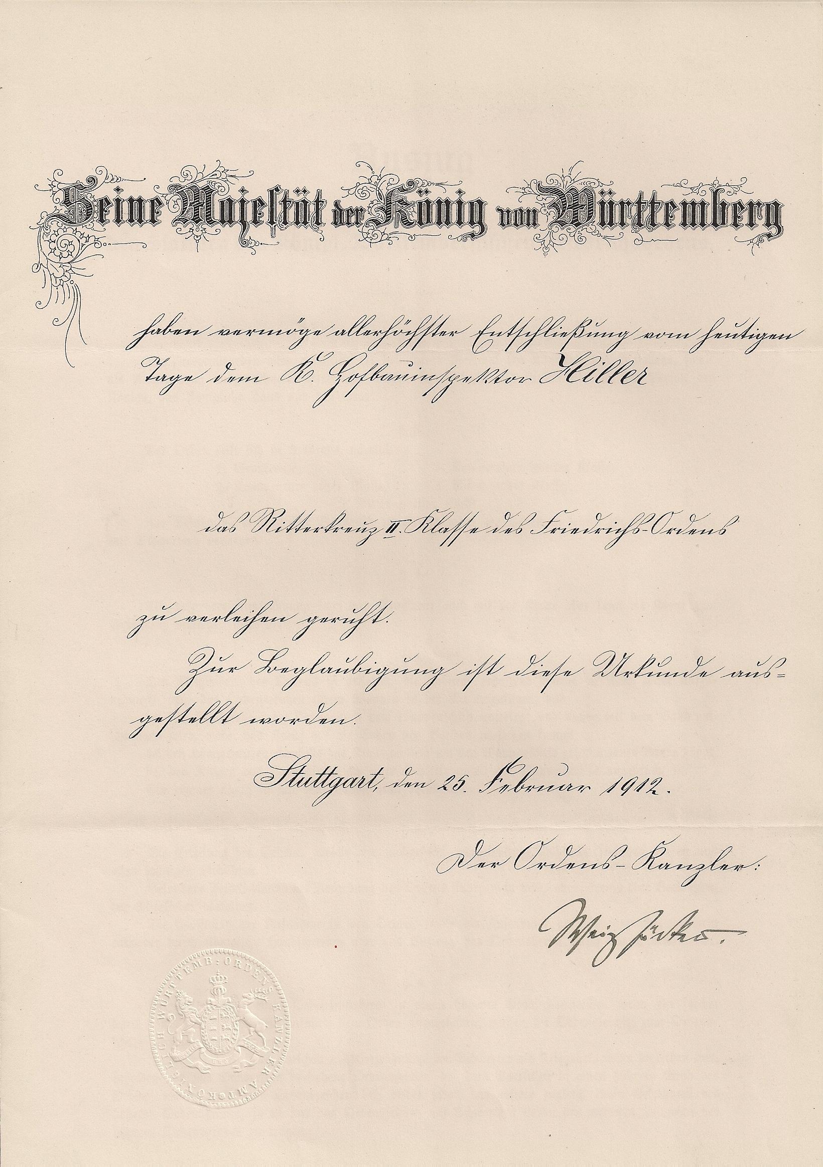 File:Verleihungsurkunde Ritterkreuz 2.Klasse des Friedrichsorden.jpg ...