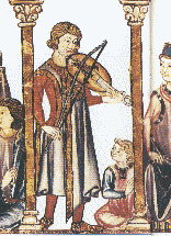 A musician plays the vielle in a fourteenth-century Medieval manuscript