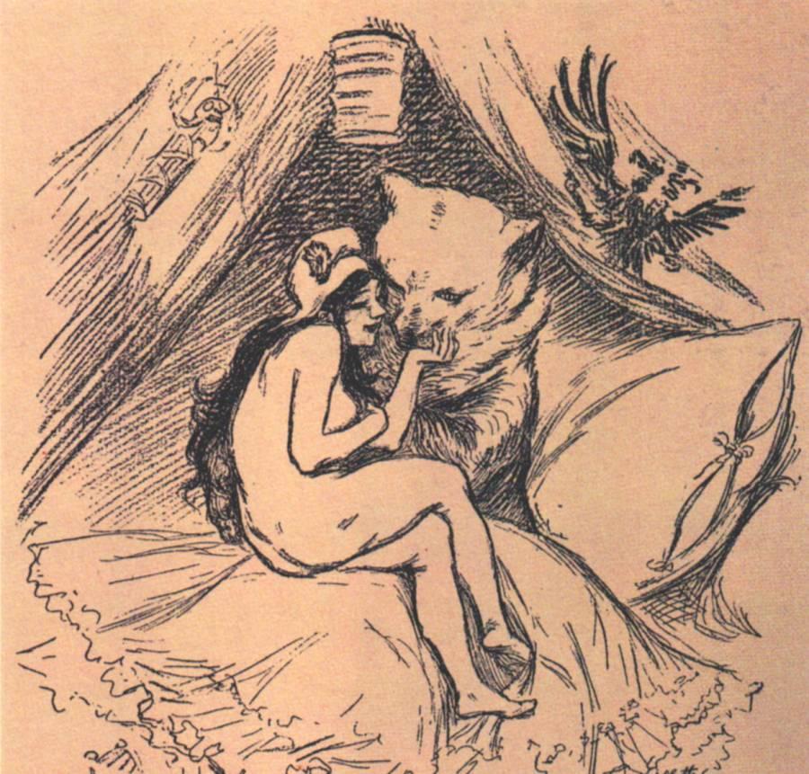 """Politischer Cartoon aus der Zeitung """"Soleil"""", Russland 1893"""