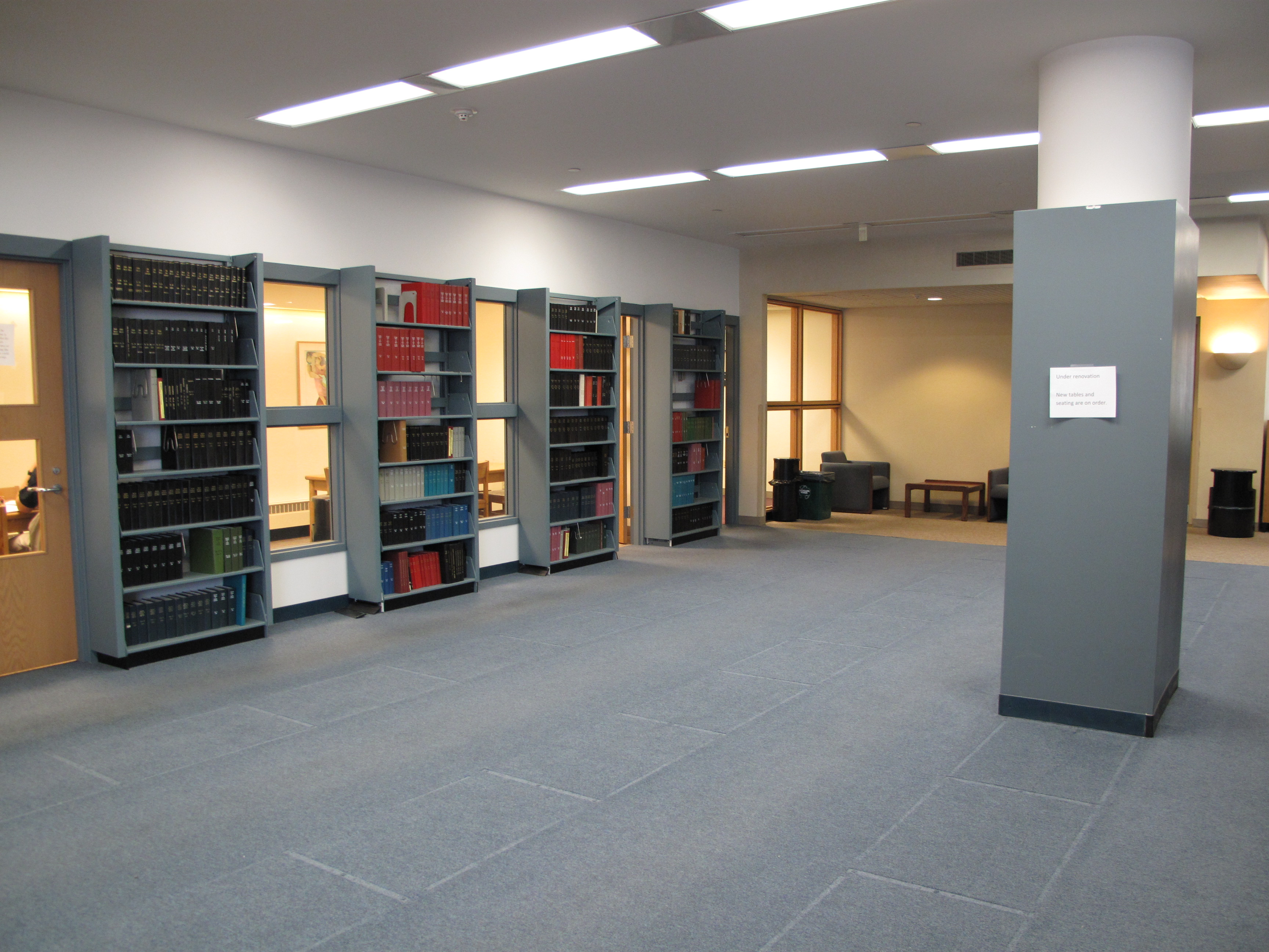 1st floor pre-renovation (3409733198).jpg Our library staff moved some of our lesser-used print periodicals to the basement to clear out more
