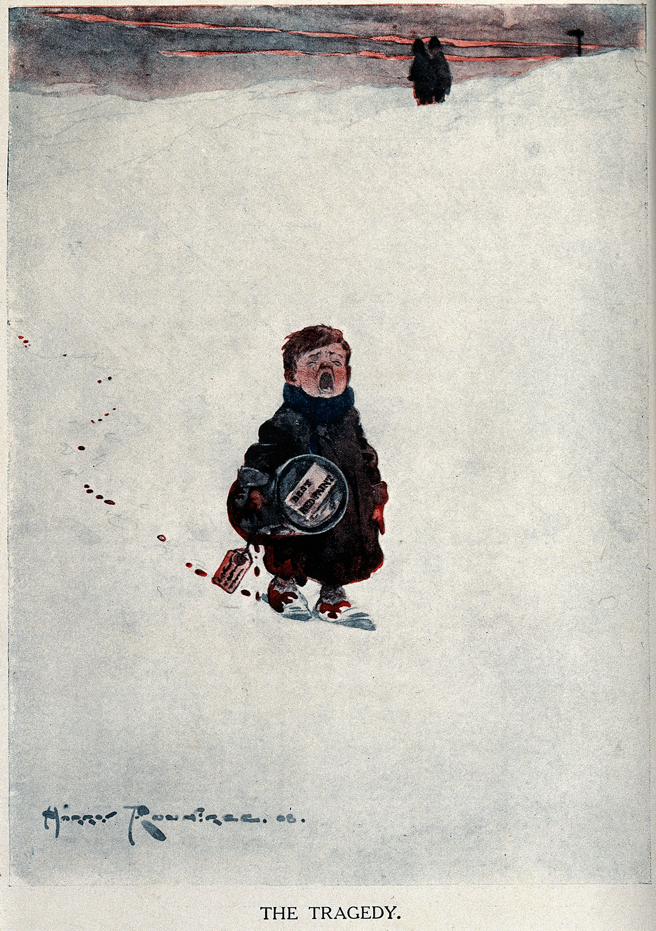 A young boy walks across the snow crying and leaving a trail