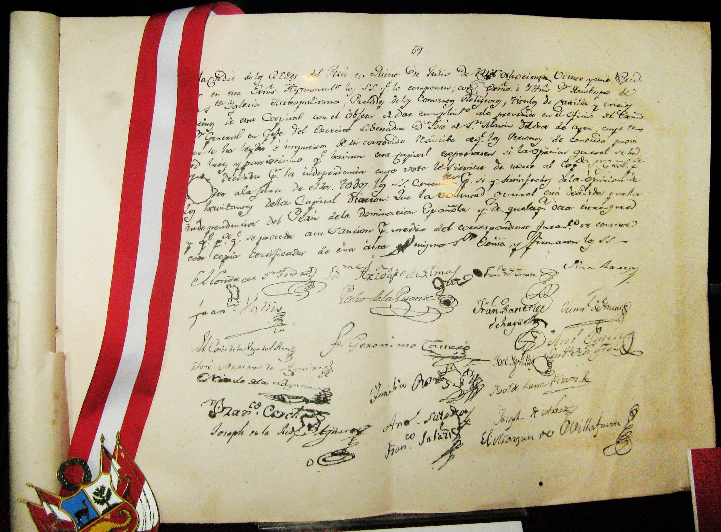 Archivo:Acta de la Indepencia del Perù.jpg - Wikipedia, la ...