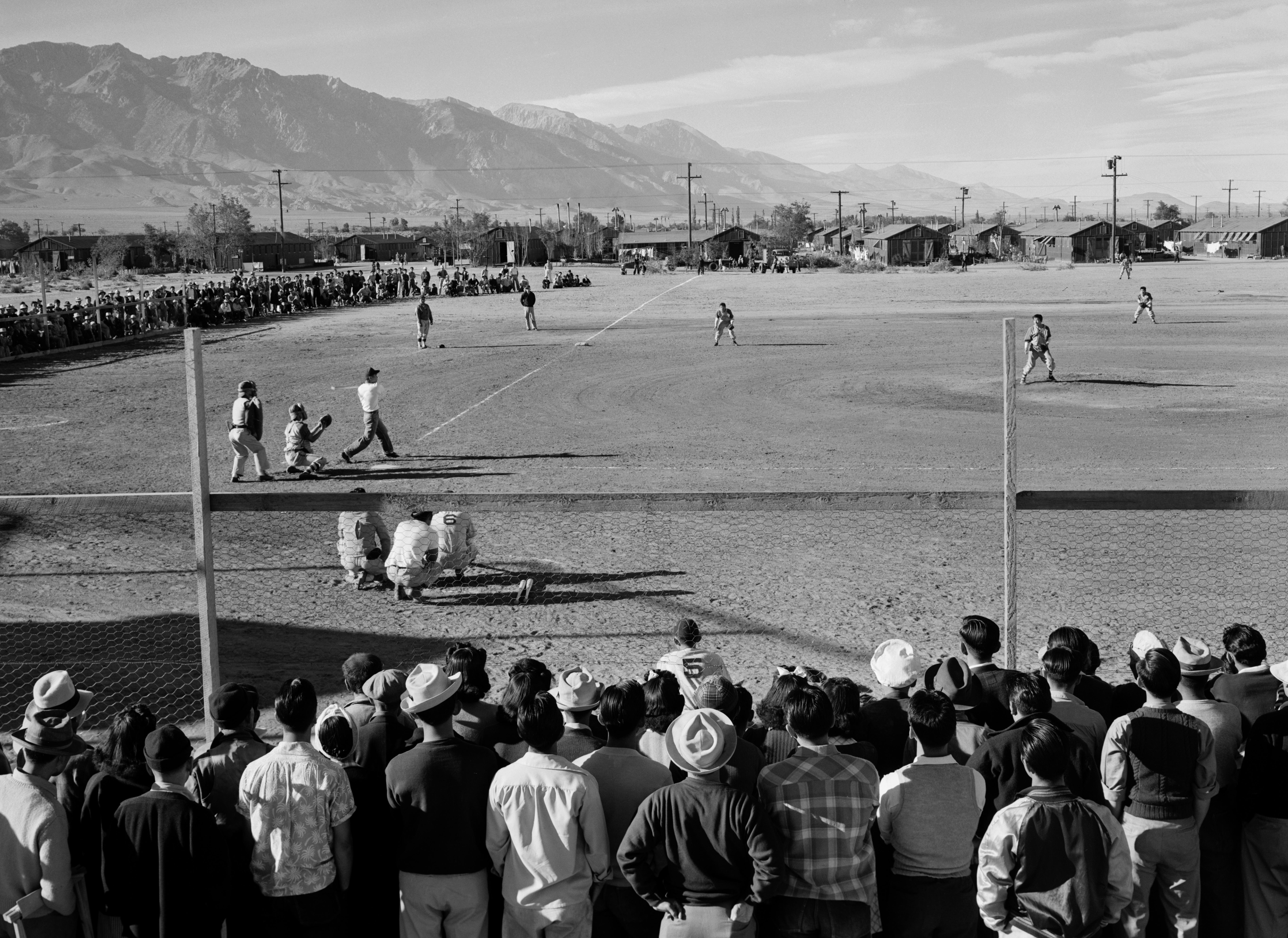 Baseball game, Manzanar War Relocation Center, 1943, Ansel Adams