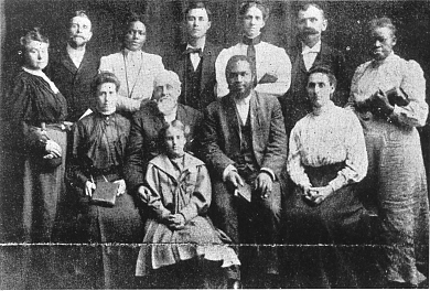 The leaders of the Apostolic Faith Mission. Seymour is front row, second from the right; Jenny is back row, third from left. - Azusa Street Revival