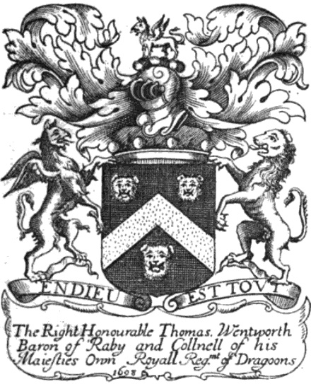 1698 bookplate of Thomas Wentworth. Book-plate-thomas-wentworth-baron-raby.jpg