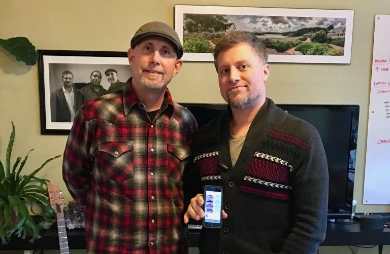 Bruce Pavitt and Adam Farish in the 8Stem office, March 2017.jpg