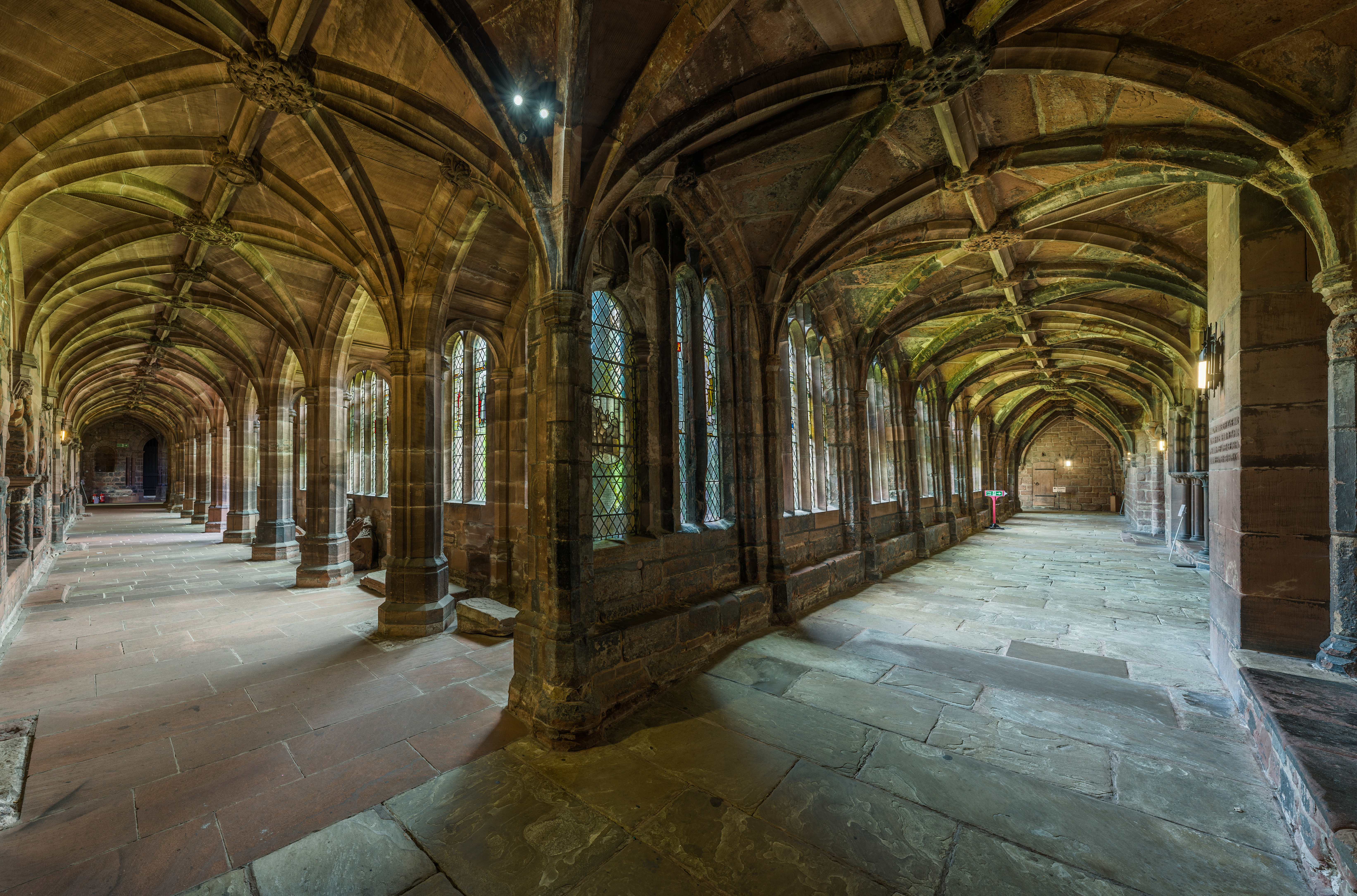 Image of interior of Chester Cathedral Cloister, photograph by David Iliff (Wikimedia Commons, CC BY-SA 3.0 licence)