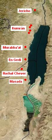 Map of Qumran area where copper scroll was found.