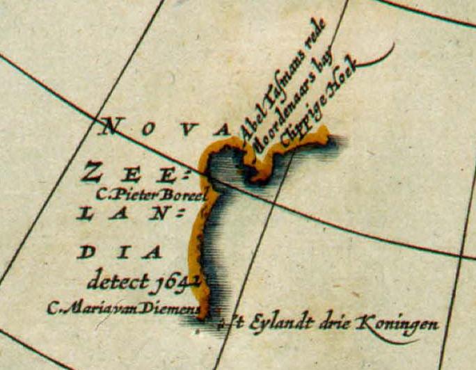 Detail of 1657 map Polus Antarcticus by Jan Janssonius, showing Nova Zeelandia.png