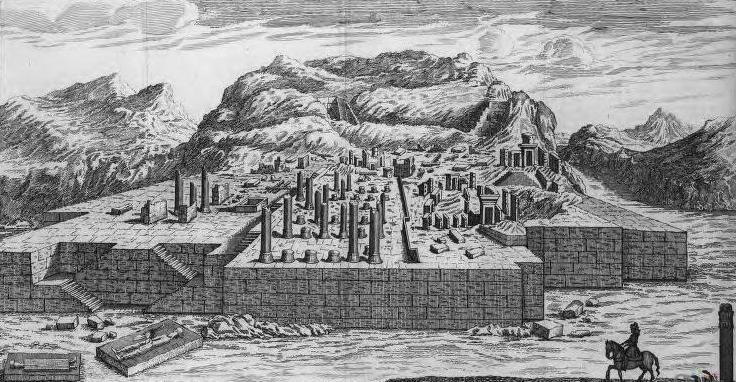 Takhte Jamshid Drawing Drawing of Persepolis in 1713