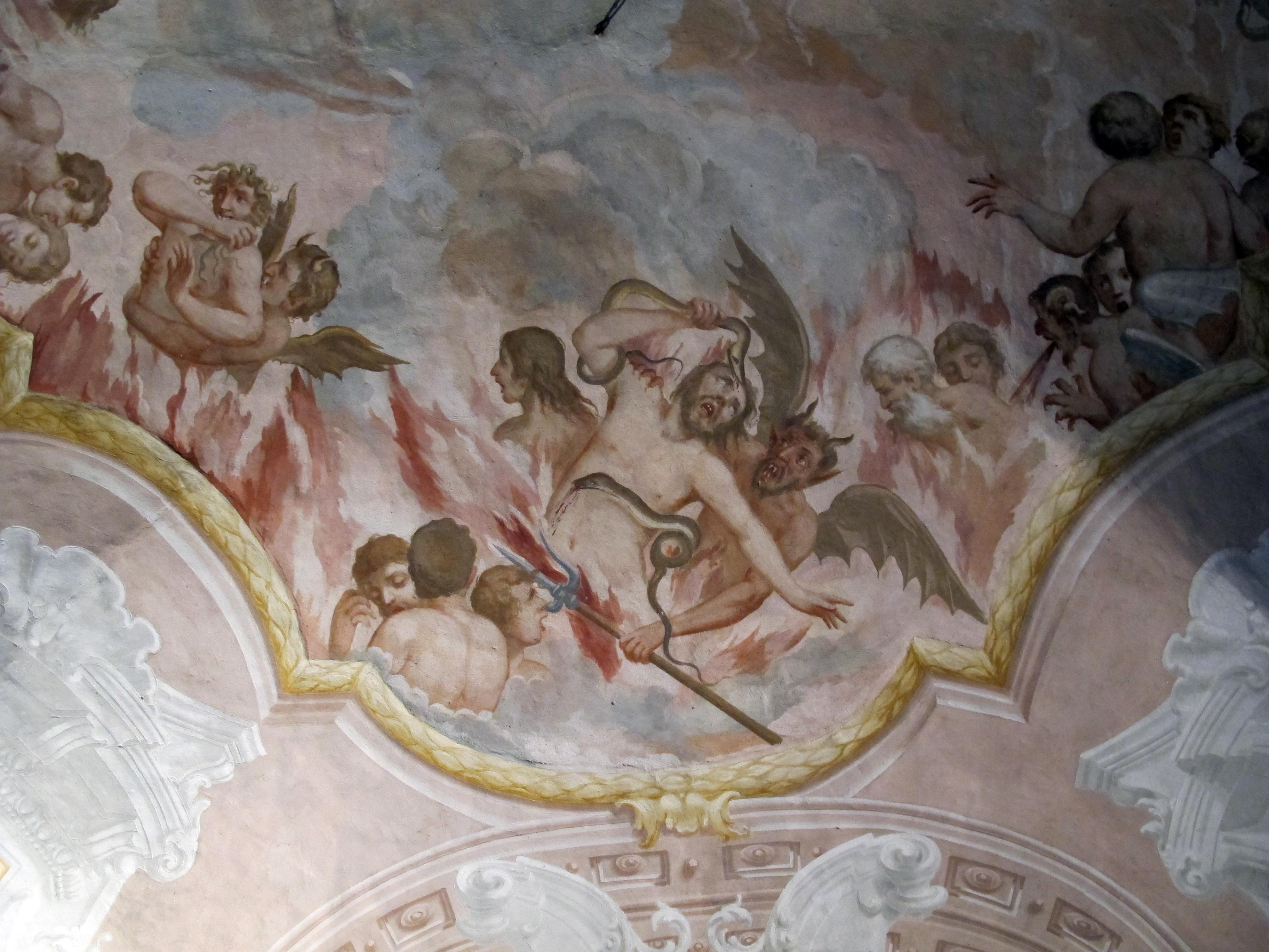 Duomo di colle, int., cripta della misericordia, affreschi con dannati.JPG