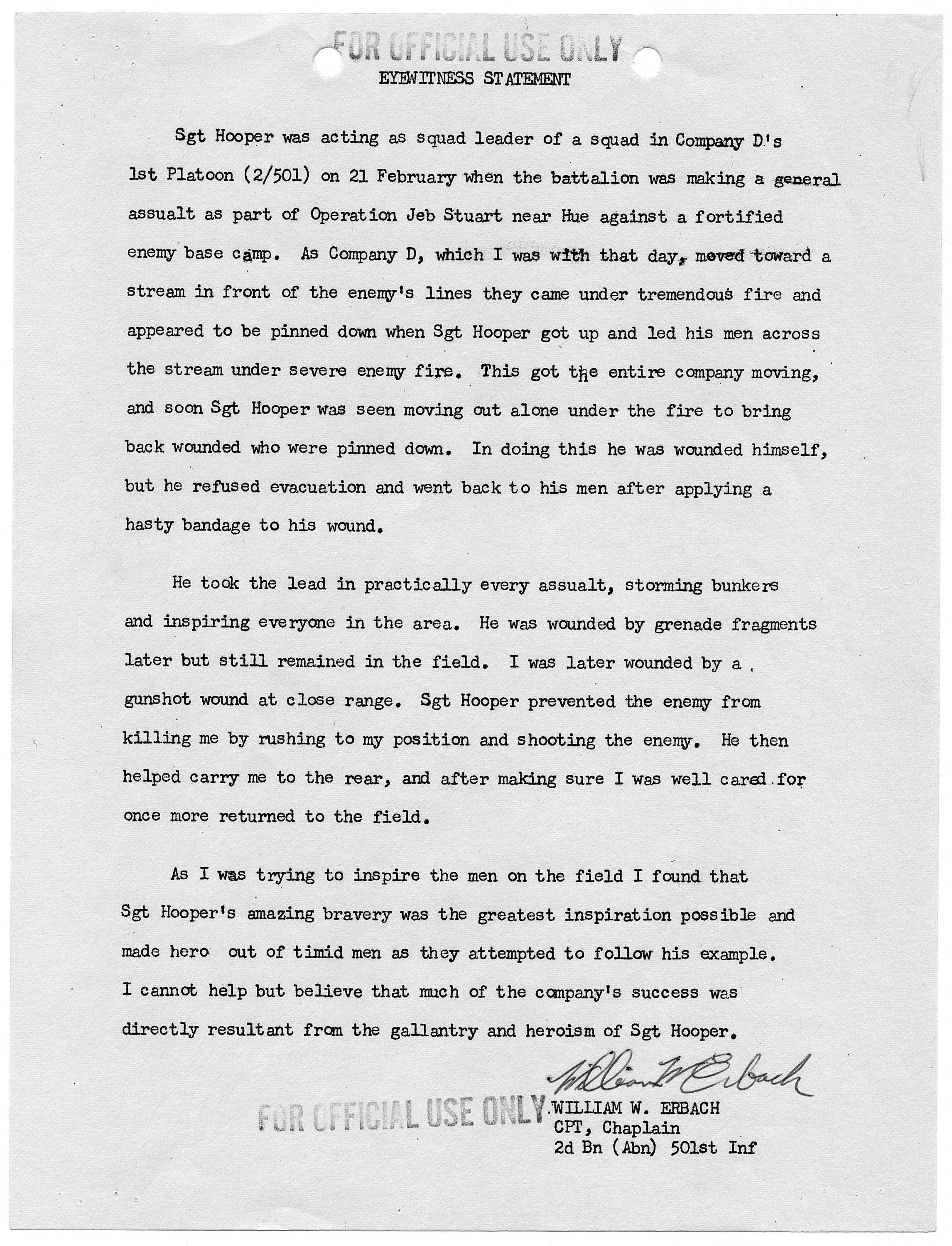 File:Eyewitness Statement of William W. Erbach, Company D, Second Battalion  (Airborne), 501st Infantry, 101st Airborne... - NARA - 305374.jpg -  Wikimedia Commons