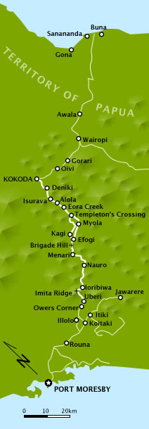 Colour map showing villages along the Kokoda Trail, which stretches north to south from Port Moresby on the southern cost to the village of Kokoda