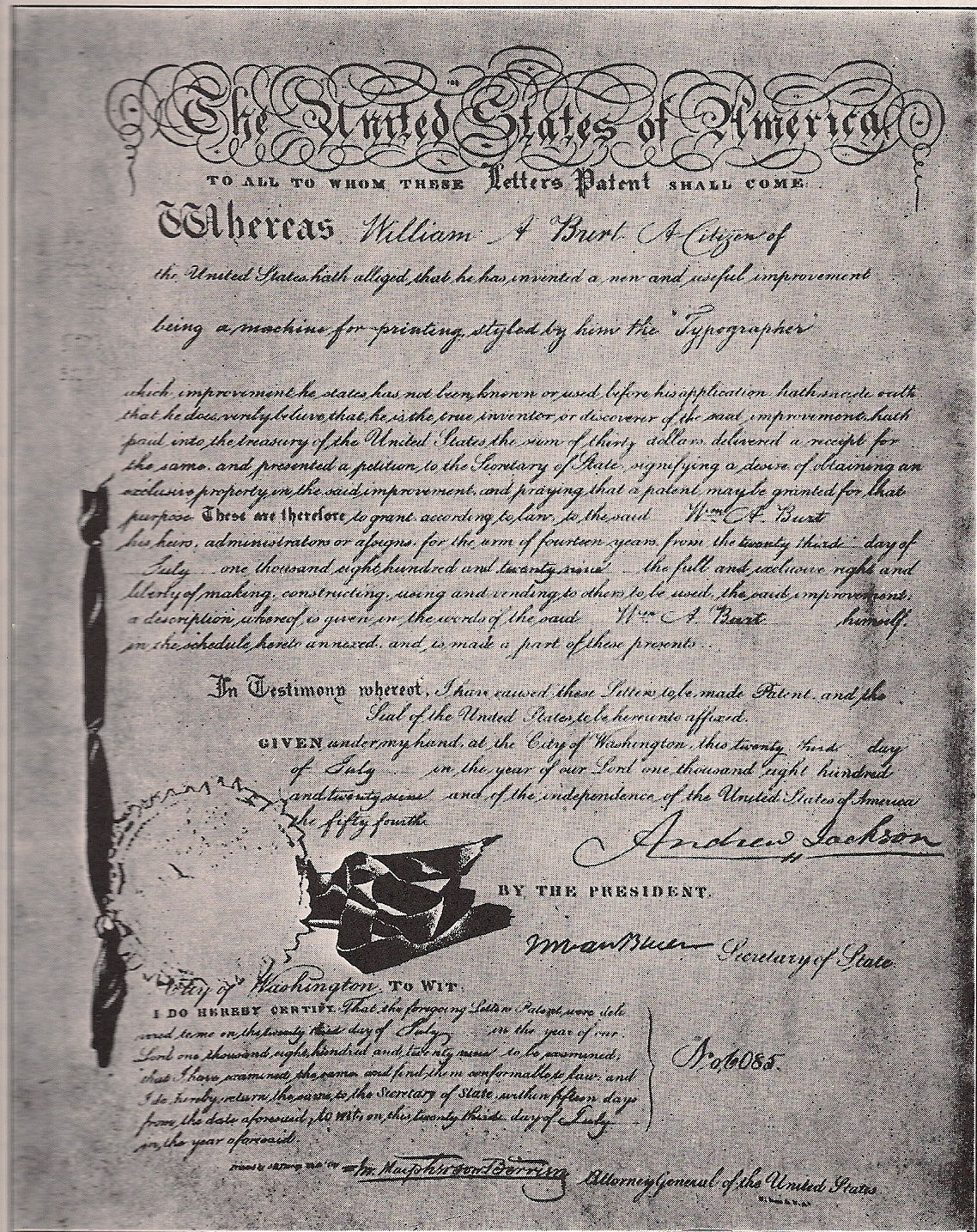 Letters Patent 1829 – signed by President Andrew Jackson