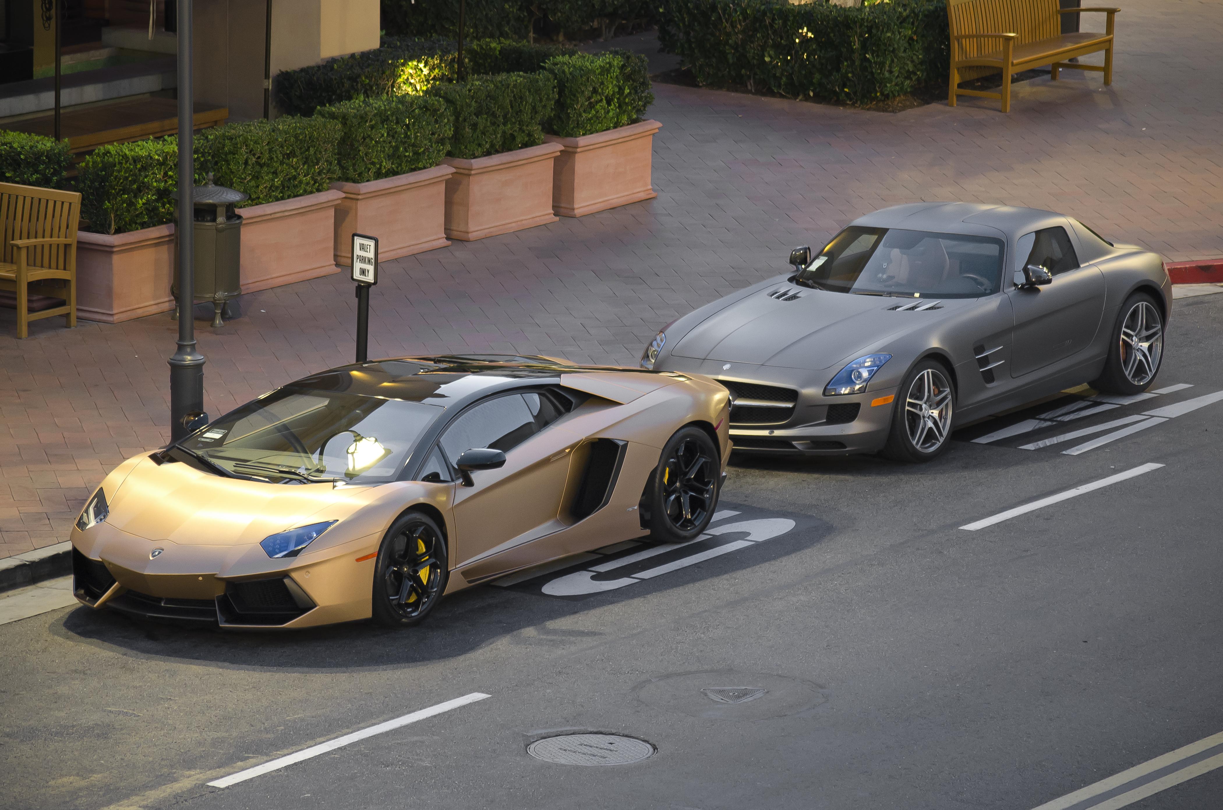 FileMatte Gold Lamborghini Aventador And Matte Gray Mercedes SLS 12043795845